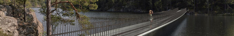 Gangbro og indgang til Tyresta Nationalpark