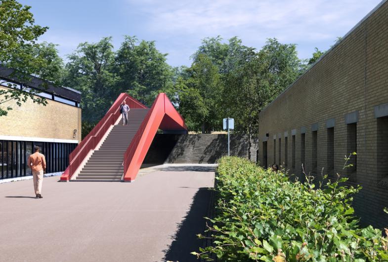 New bridge across the light rail on DTU Lyngby Campus