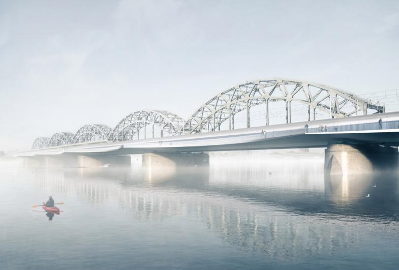 New station area and bridge in Riga, Latvia