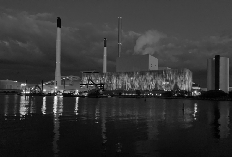 Amager Power Station in Copenhagen is now illuminated