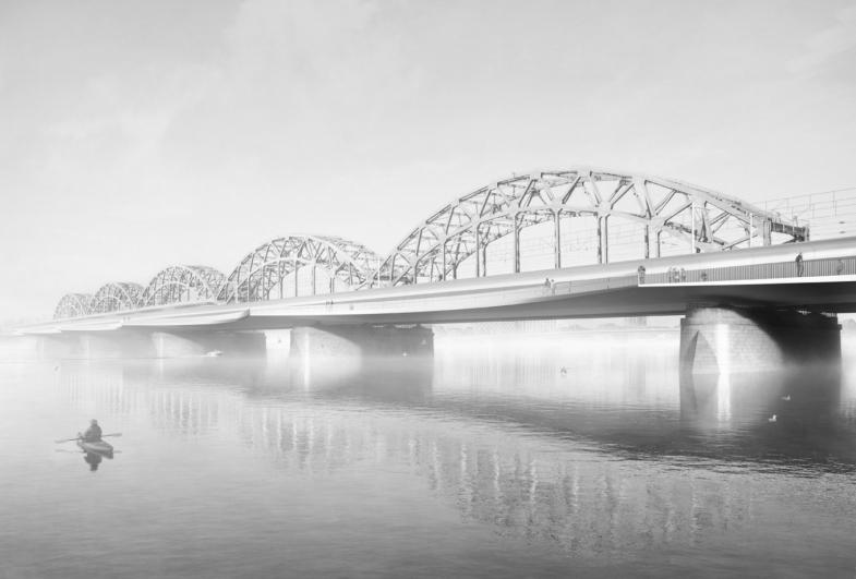 Nyt stationsområde og bro i Riga, Letland
