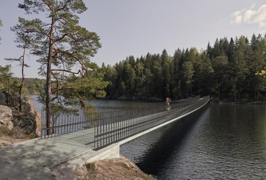 Bridge and entrance in Tyresta National Park, Sweden