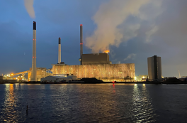 Amager Power Station BIO4 lights up in the winter darkness