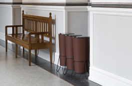 Waste segregation in leather and steel at Copenhagen Town Hall